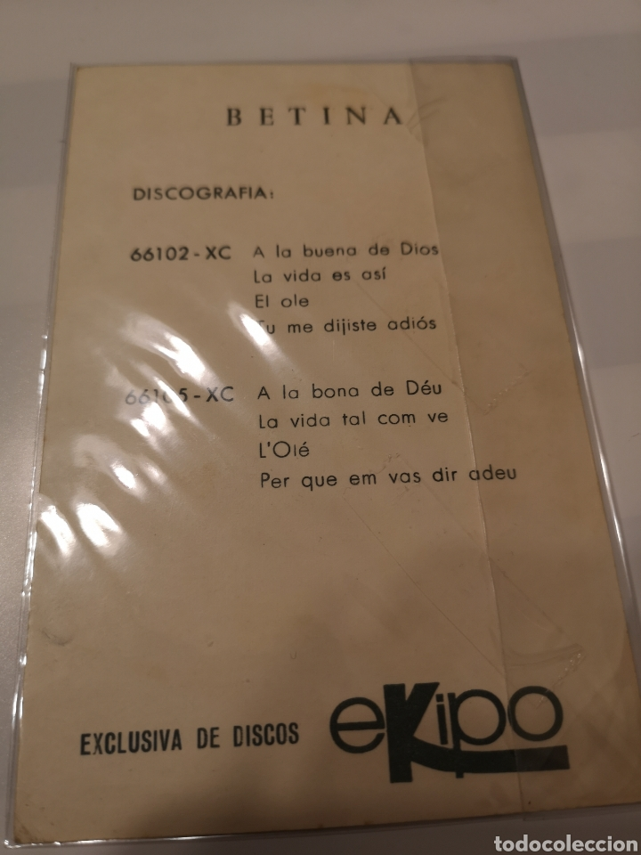 Postales: CI 139. POSTAL DE DISCOS BETINA EKIPO - Foto 2 - 221517230