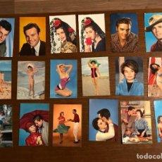 Postales: LOTE 18 POSTALES O FOTOGRAFÍA VINTAGE CON FAMOSOS EN COLOR. Lote 224733363