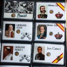 Postales: COLECCION DE 15 TARJETAS PLASTIFICADAS CON MONEDA DE PERSONAJES IMPORTANTES. Lote 228052100
