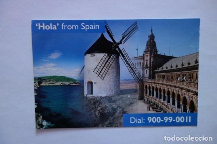 TARJETA POSTAL HOLA FROM SPAIN POSTCARD COLECCIONISMO CIUDADES ESPAÑA MOLINOS (Postales - Varios)