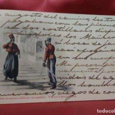 Cartoline: POSTAL MILITAR OFFICIER ET SOUS-OFFICIER DE SPAHIS, TENUE À PIED 1901. 1904. POSTAL-681. Lote 230044430