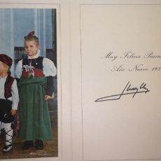 Postais: ANTIGUA FOTOGRAFÍA CON LOS INFANTES DE ESPAÑA, FELICITANDO LA NAVIDAD JUAN CARLOS Y SOFÍA. Lote 242382575