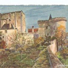 Postales: POSTAL 026808 : PINTURA. LA DOUCE FRANCE - CHATEAUX DE LA LOIRE. LE DONJON ET LA TOUR LOUIS XI. Lote 245515980