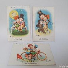 Postales: 3 POSTALES FELICITACION. AÑOS 40-50. C.M.B. ILUSTRADOR FARINYES.. Lote 245584675