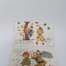 Postales: 2 POSTALES AÑOS 40, 50. PUBLICACIONES CINEMA. ILUSTRADOR GOZZI.. Lote 245586230