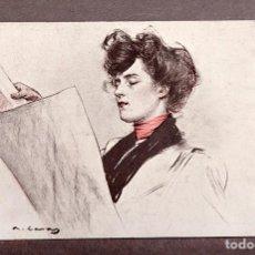 Postales: RAMÓN CASAS - POSTAL ORIGINAL - PUBLICIDAD DE L'AVENÇ, DIARIO DE BARCELONA - C. 1890. Lote 248147290