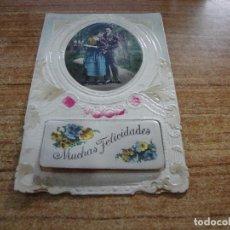 Postales: ANTIGUA POSTAL PAREJA MUCHAS FELICIDADES 1926 ESCRITA. Lote 256028255