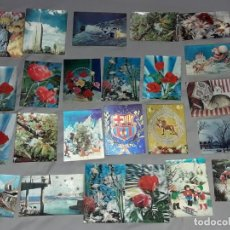 Postales: LOTE DE 24 POSTALES HOLOGRÁFICAS O 3D VARIADAS. Lote 264260852