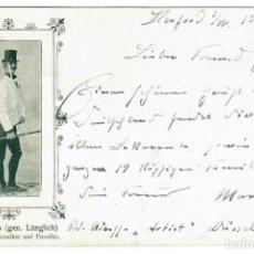Postales: MAX ARRAS (COMEDIANTE) - CIRCULADA EN 1903 - FIRMADA POR EL ARTISTA. Lote 266169218