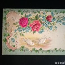 Postales: PRECIOSA Y ANTIGUA POSTAL FLORES Y PÁJAROS - SIN CIRCULAR. Lote 267545704