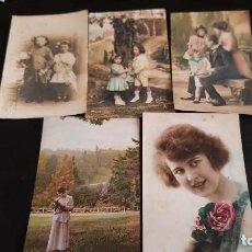 Postales: LOTE 5 POSTALES AÑOS 20 ANTIGUAS NIÑAS Y SEÑORAS. Lote 269287973