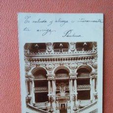 Postais: PARIS. L'OPÉRA, LE DRAND ESCALIER. BONITA POSTAL. CIRCULADA.. Lote 269620948