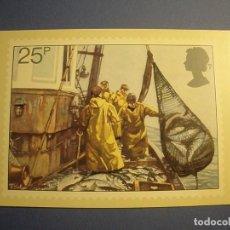 Postales: GRAN BRETAÑA - PESCA (ARRASTRE DE RED) - BARCO DE PESCA - BRIAN SANDERS.. Lote 270381953