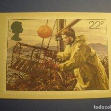 Postales: GRAN BRETAÑA - PESCA (PESCA DE LANGOSTA) - BARCO DE PESCA - BRIAN SANDERS.. Lote 270382433