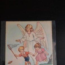Postales: POSTAL ANTIGUA ANGEL DE LA GUARDA CON NIÑOS. Lote 270556763