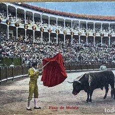Postales: POSTAL TAURINA. TOROS. PASE DE MULETA. SIN CIRCULAR. LEVES DEFECTOS. Lote 274289073