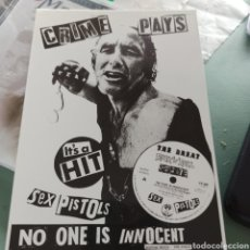 Postales: SEX PISTOLS - CRIME PLAYS (JAMIE REID) (POSTAL SIN USAR). Lote 275229838