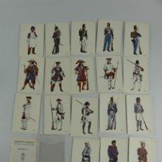 Cartoline: 18 POSTALES UNIFORMES MILITARES DE ESPAÑA 1ª SERIE REGIMIENTO DEL REY Nº 1. Lote 275796088