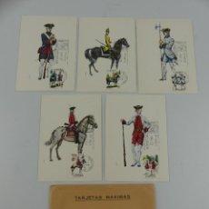 Cartoline: TARJETAS MAXIMAS UNIFORMES MILITARES 4 SERIE 7 ENERO 1975. Lote 275838723