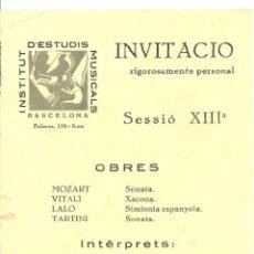 Postales: 3746.-INSTITUT ESTUDIS MUSICALS-JESUA CELA VIOLI-MARIA CAPMANY PIANO-INVITACIO-HOTEL MAJESTIC. Lote 285370623