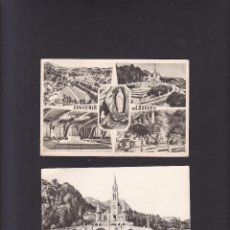 Postales: TARJETAS POSTALES LOURDES - 2 - CIRCULADAS, CON SELLO 1963. Lote 288168178