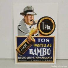 Postais: REPRODUCCIÓN DE ANTIGUA POSTAL PUBLICIDAD - PASTILLAS PARA LA TOS BAMBÚ. MADRID. Lote 292030033