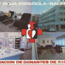 Postales: CRUZ ROJA ESPAÑOLA - BALEARES. DONANTES DE SANGRE. TARJETA POSTAL. CIRCULADA.. Lote 295861483