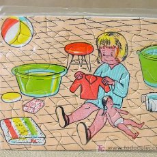 Puzzles: VINTAGE MINI PUZZLE PUZLE NIÑA JUGANDO 60S. Lote 13151068