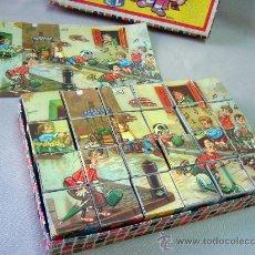 Puzzles: JUEGO, ROMPECABEZAS, 24 CUBOS, CON 2 LAMINAS, 60S, CON ABECEDARIO, CARTON. Lote 28924868