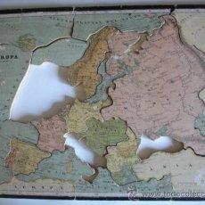 Puzzles: PUZLE SOBRE MADERA.MAPA DE EUROPA.C.1920.33X20.ESCUELA.FALTO. Lote 29481418