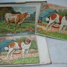 Puzzles: CARBOPLAN - ANTIGUO PUZZLE DE VACA Y PERRO CON SUS LÁMINAS. Lote 37794150