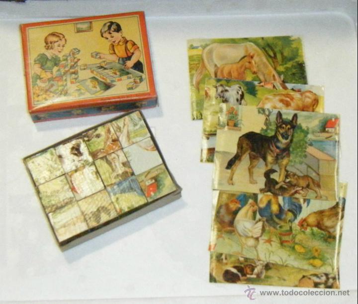 PUZZLE / ROMPECABEZAS DE CUBOS. IMAGENES DE ANIMALES. JUGUETE ALEMAN. GES. GESCH. VER FOTOS. AÑOS 50 (Juguetes - Juegos - Puzles)