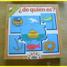 Puzzles: PUZLE PUZZLE ROMPECABEZAS ¿DE QUIÉN ES? DE EDUCA, EN MADERA, REF 2158. Lote 43385296