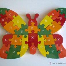 Puzzles: PUZZLE DE MADERA. MARIPOSA. PUZLE DE LETRAS Y NÚMEROS.. Lote 121843062