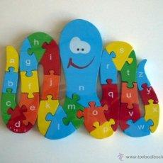 Puzzles: PUZZLE DE MADERA. PULPO. PUZLE DE LETRAS Y NÚMEROS.. Lote 132399745