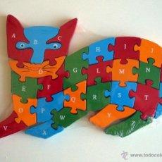 Puzzles: PUZZLE DE MADERA. GATO. PUZLE DE LETRAS Y NÚMEROS.. Lote 138533592
