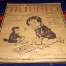 Puzzles: TRIUNFO, SE JUEGA APRENDIENDO. SOBRE SORPRESA CON PUZLE PARA JUGAR DENTRO AÑOS 40 COMPLETO Y RARO.. Lote 46906686