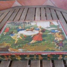 Puzzles: ANTIGUO ROMPECABEZAS PUZLE EN CUBOS DE CARTON CAJA DE MADERA PRINCIPIOS SIGLO XX COMPLETO 48 PIEZAS. Lote 47144282