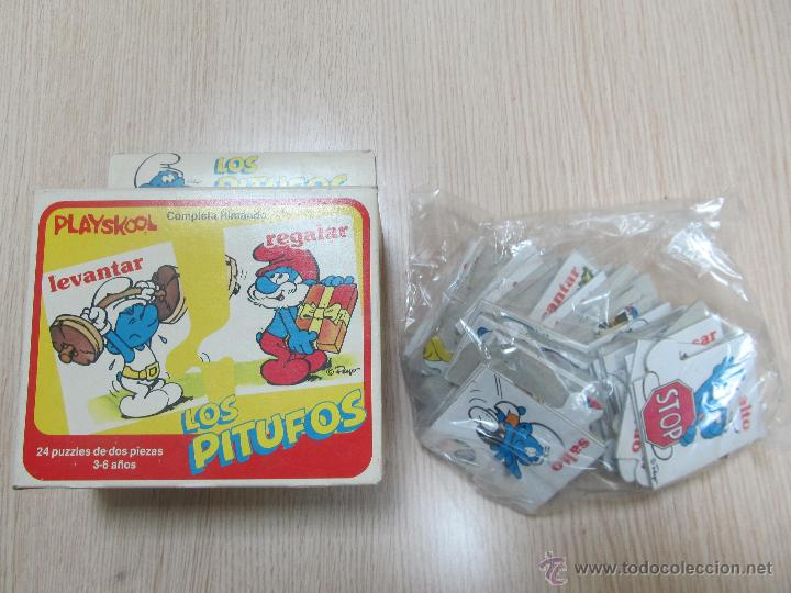 M69 PUZLE PUZZLE DE 24 PIEZAS DE LOS PITUFOS PLAYSKOOL 1983 PEYO MUY RARO Y DIFICIL NUEVO (Juguetes - Juegos - Puzles)