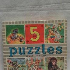 Puzzles: 5 PUZZLE ANTIGUO AÑOS 60 DE ANIMALES - MULDER - FABRICADO EN HOLANDA. Lote 50296234