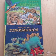 Puzzles: LOTE DE DOS LIBROS PUZZLES GRANDES COMPLETOS DE DINOSAURIOS Y ANIMALES SALVAJES. Lote 50652373