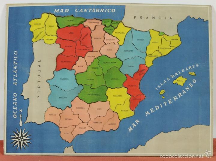 Mapa De España Con Sus Provincias.Juego Instructivo Geotarsico Puzzle Mapa De E Sold At