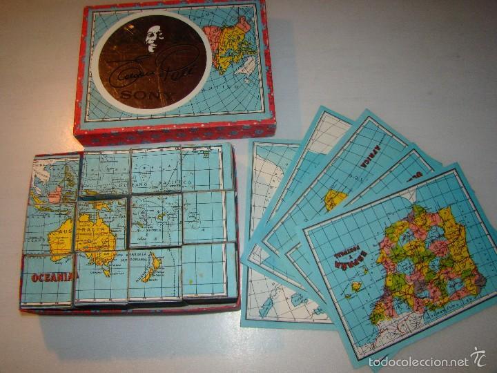 ANTIGUO PUZZLE DE CUBOS - MAPAS (Juguetes - Juegos - Puzles)
