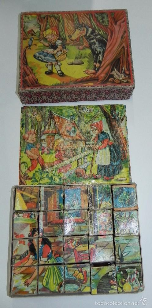 ROMPECABEZAS PUZLE DE CUBOS DE CARTÓN. BLANCA NIEVES, CAPERUCITA ROJA, (LITTLE RED RIDING HOOD), GAT (Juguetes - Juegos - Puzles)