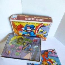 Puzzles: PUZZLE ROMPECABEZAS EN CUBOS DE PLASTICO SUPER HEROES MARVEL, DALMAU CARLES AÑOS 80. Lote 58445553