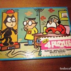 Puzzles: JUEGO 4 PUZZLES PUZZLE: GATO FELIX, POPEYE, TIGER, BEETLE BAILEY. MOD.2 CALCOMANIAS ORTEGA. AÑOS 70.. Lote 68613381