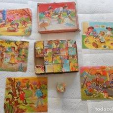 Puzzles: ANTIGUO PUZLE ROMPECABEZAS INFANTIL, AÑOS 60. DE CARTÓN, CON TODAS LAS LÁMINAS Y 20 CUBOS. Lote 69720049