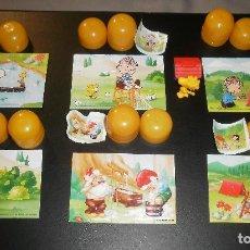 Puzzles: JUGUETE KINDER. PUZZLES SNOOPY (LOTE 5 DIFERENTES) Y OTRO DE GNOMOS. 1990. Y FIGURA DE REGALO. Lote 80892699
