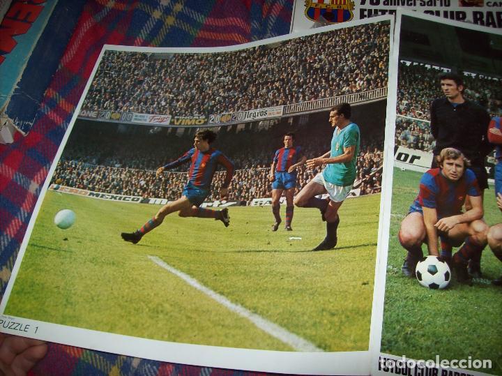 Puzzles: EXCELENTE PUZZLE 75 ANIVERSARIO FUTBOL CLUB BARCELONA,CAMPEÓN 1973/74. 3 PUZZLES 32 CM X 31 CM. - Foto 2 - 85366632