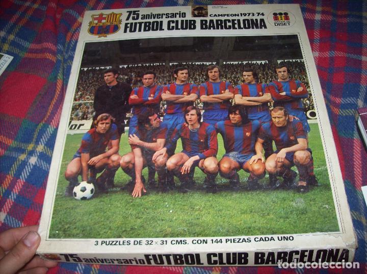 Puzzles: EXCELENTE PUZZLE 75 ANIVERSARIO FUTBOL CLUB BARCELONA,CAMPEÓN 1973/74. 3 PUZZLES 32 CM X 31 CM. - Foto 6 - 85366632